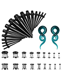 BodyJ4You 38PC Gauges Kit Stainless Steel Tapers Black Plug 14G-00G Spiral Glass 00GA Ear Stretching Set