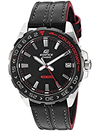 Men's Edifice Stainless Steel Quartz Leather Strap, Black, 21 Casual Watch (Model: EFV-120BL-1AVCR)