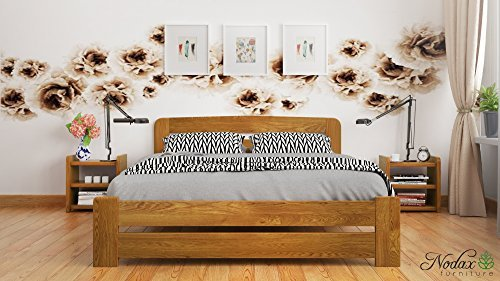 New King Size Solid Wooden Bed Frame F1 with sturdy slats (5ft, oak) by Nodax