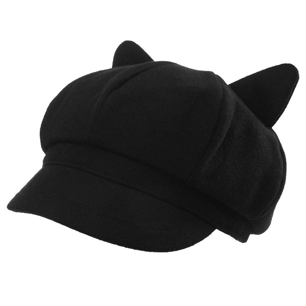 37f3c1a31de Wool Newsboy Cap Cat Ears Women Winter Cute Pussy Cat Hats Visor Beret Lined