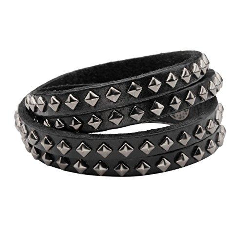 Zysta Cool Stud 15MM Wide Multilayer Wristband Cuff Belt Bracelet Bangle Genuine Leather Rope Black Punk Rock (Spike Belt)