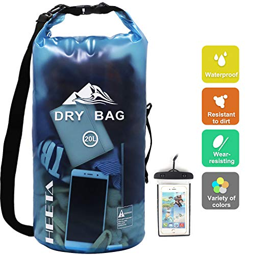 HEETA Waterproof Dry Bag for Women Men, Roll Top Lightweight Dry Storage Bag Backpack with Phone Case for Travel, Swimming, Boating, Kayaking, Camping and Beach, Transparent Blue 20L