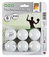 Idena 7440022 - 6 Tischtennisbälle, 3 Sterne, weiß