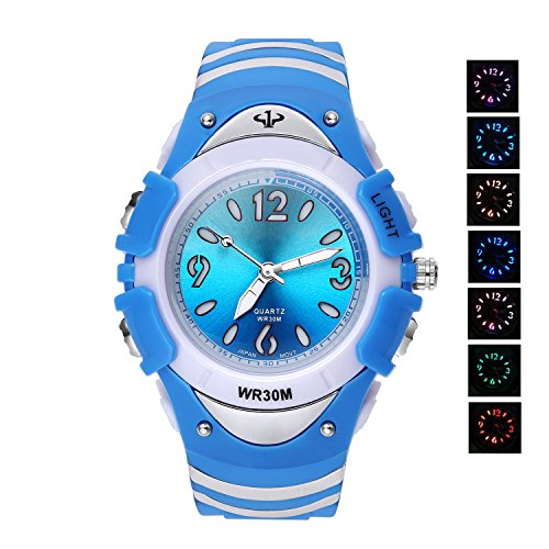 7 Colors Flashing Luminous Pointers Waterproof Quartz Analog Digital Kids Watch Boys Girls Blue