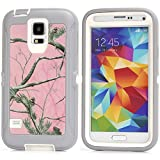 MOONCASE Galaxy S5 Case, [Realtree Camo Series] 3 Layers Heavy Duty Defender Hybrid Soft TPU +PC Bumper Triple Shockproof Drop Resistance Protective Case Cover for Samsung Galaxy S5 -Pink Tree