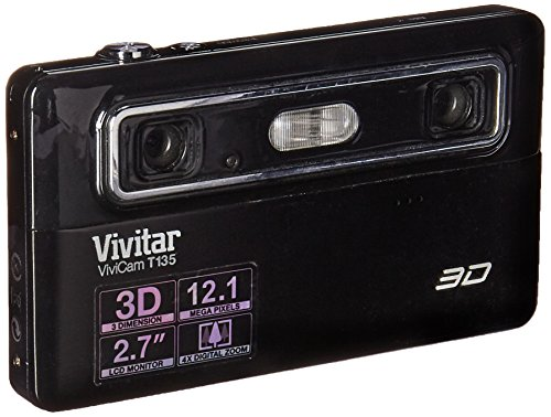 Vivitar Vivicam 3D T135 12.1MP 4X Digital Zoom Digital Camera Black Vivitar Vivicam