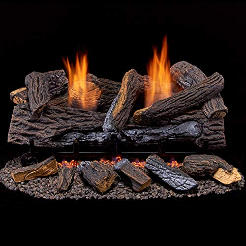 Duluth Forge Ventless Natural Set-24 Manual Control Gas logs Stacked Red Oak
