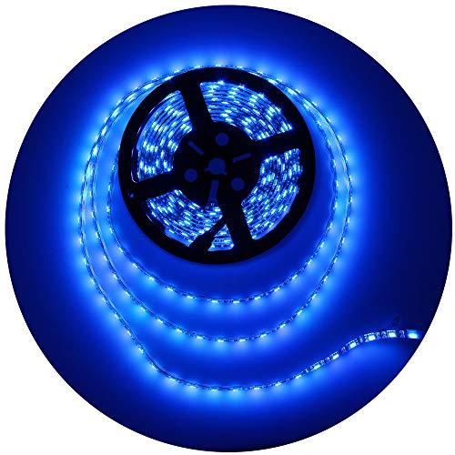 ALITOVE 16.4ft 5050 Blue LED Flexible Strip Ribbon Light Black PCB DC 12V 5M 300 LEDs Waterproof IP65 for Home Garden Commercial Area Lighting