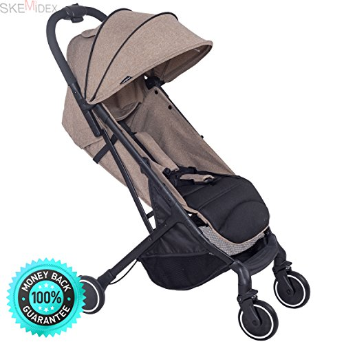 SKEMiDEX---Lightweight Foldable Baby Kids Travel Stroller Pushchair Buggy Newborn Infant. Stroller accepts all Classic Connect & Click Connect Infant Car Seats