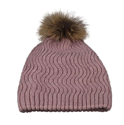 Mallcat Women Winter Crochet Fur Wool Knit Warm Hat (Pink)