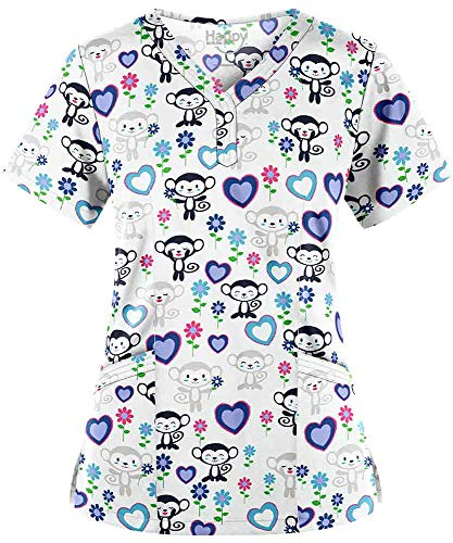 (Women's Monkey Garden White Y-Neck Stretch Print Scrub Top (XS-3X))