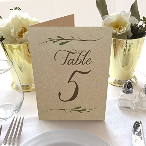 Kraft Rustic Wedding Table Numbers