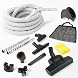 CENTRAL VACUUM COMPLETE KIT WITH 30' HOSE, AIR DRIVEN TURBO NOZZLE AND CLEANING ACCESSORIES