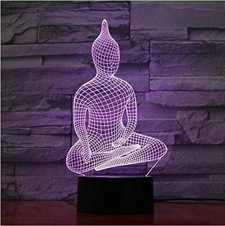 Ilusión Óptica Lámpara De Luz Nocturna 3D Yoga Sentado Buda ...