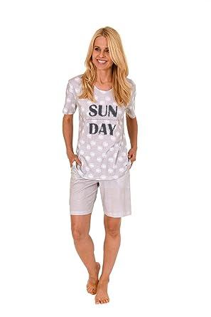 neuer & gebrauchter designer Sonderrabatt authentische Qualität Damen Pyjama Schlafanzug Shorty Kurzarm Bermudas Baumwolle Übergrößen