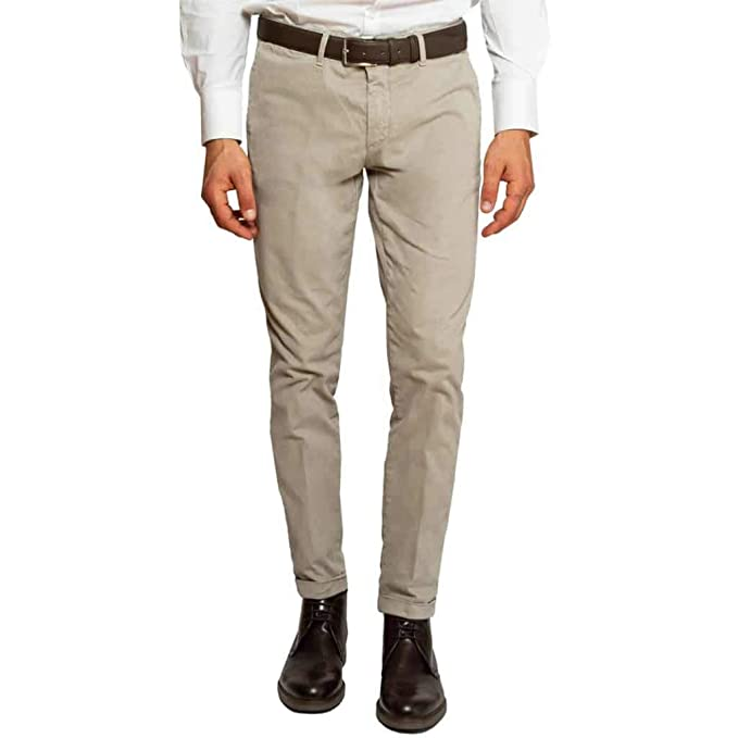4365aadf87bc Sartoria Italiana - Massimiliano Sorvino Pantalone Elegante Slim Fit Beige  con Risvolto (48 IT Uomo