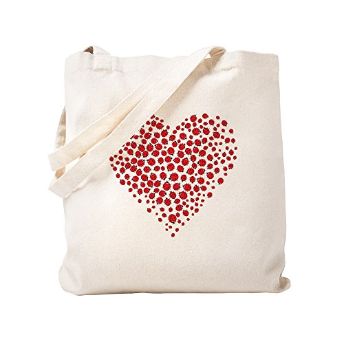 CafePress Heart Of Ladybugs Natural Canvas Tote Bag, Cloth Shopping Bag