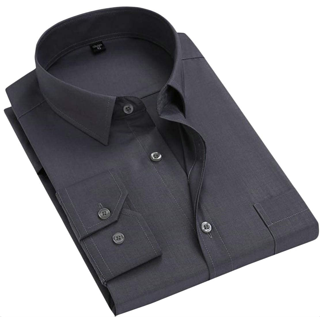 Pivaconis Mens Autumn Long Sleeve Loose Fit Solid Color Button Down Shirts