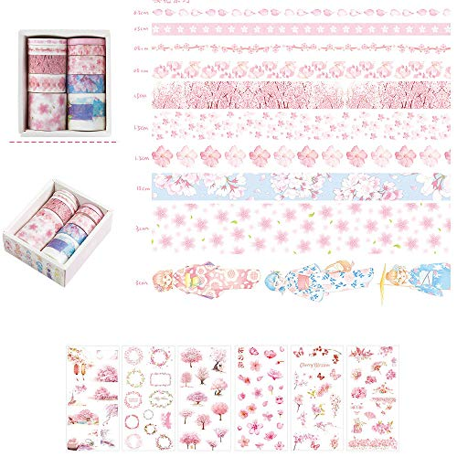 (DzdzCrafts 10 Rolls Pink Sakura Decorative Washi Tapes and 6 Sheets Sakura Flower 100+ Stickers Set for Scrapbooking Bullet Journal Diary Album Card Making (0.5cm 0.8cm 1.5cm 3cm Wide x 2M))