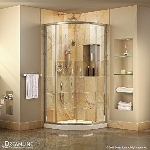 DreamLine Prime 33 in. x 74 3/4 in. Semi-Frameless Clear Glass Sliding Shower Enclosure in Chrome with White Base Kit, DL-6701-01CL