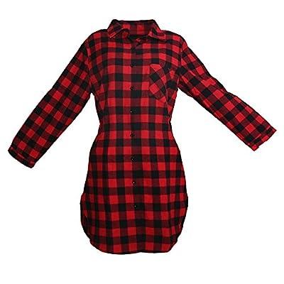 5Dreams Women Long Sleeve Plaid Pattern Tunic Tops Shirt Casual Dress 0008