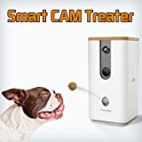 DOGNESS Pet Treat Dispenser with Camera, Monitor Your Pet Remotely with HD Video, Two-Way Audio, Night Vision, for Dogs and Cats - White