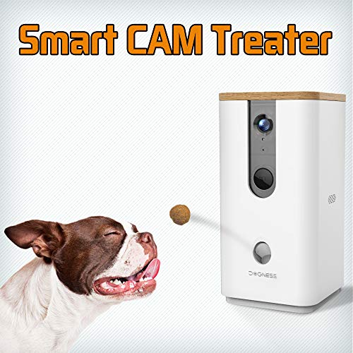 DOGNESS Pet Treat Dispenser with Camera, Monitor Your Pet Remotely with HD Video, Two-Way Audio, Night Vision, for Dogs and Cats - White ()