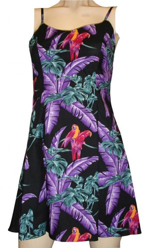 Jungle Bird Hawaiian Dress - Womens Hawaiian Dress - Aloha Dress - Hawaiian Clothing - 100% Rayon Black (Jungle Bird)