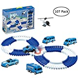 JollySweets Police Car Race Track Set for Kids 107 Pcs, Race Track Can Bend, Flex, Pretent Play Toys...