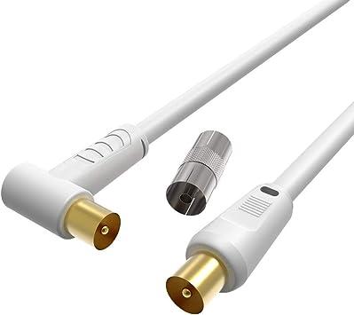Cable Coaxial de Antena de TV Macho a Macho 0.5M, Antena de TV RF Coaxial