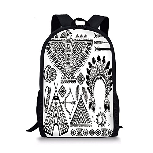 Caddis Tent - iPrint School Bags Tribal,Native American Feather Head Band Ethnic Teepee Tent Bow and Arrow Art Print,Black and White for Boys&Girls Mens Sport Daypack
