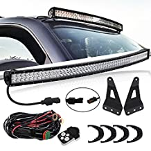 TURBOSII DOT 54 Inch Curved Offroad Led Light Bar W/ Upper Roof Windshield Mounting Brackets Remote Switch DT Connector Wiring Kit for 2004-2014 Ford F150 2010-2014 Ford F150 SVT Raptor