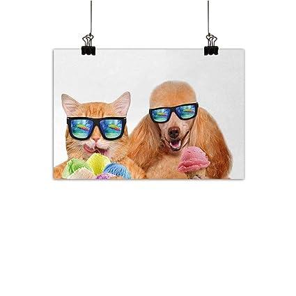 Amazon Com Animal Wall Art Decor Poster Painting Cat Dog