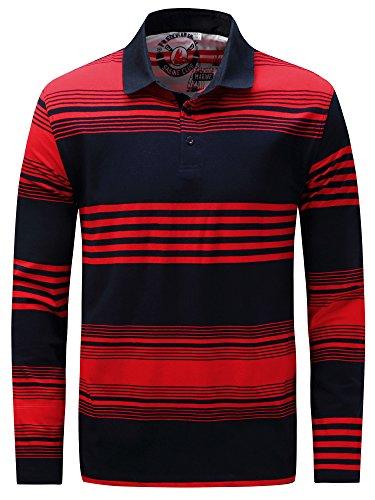 Long Cotton Sleeve Polo Shirt (Neleus Men's Stripe Long Sleeve Cotton Polo Shirt,735,Red & Blue,M,Tag L)