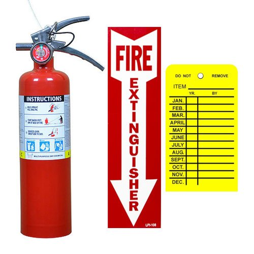 (Lot of 1) Victory 2 1/2 Lb. Type ABC Dry Chemical Fire Extinguishers, with 1 - Vehicle Brackets and 1 - Yellow Inspection Tag and Sign by Type ABC Dry Chemiclal Extinguisher