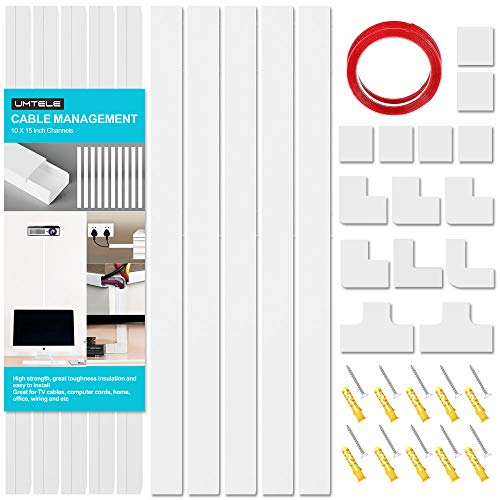 Cable Concealer System Raceway Kit - UMTELE 157 inch White Cable Channels - Cord Cover Cable Organizer to Hide Wires for Wall Mount TV, Offices and Computers - 15.7 X 0.91 X 0.51 inch(LWH)