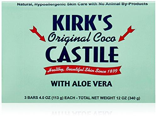 Kirk's Natural Original Coco Castile Soap with Aloe Vera, 3 (Bronners Aloe)
