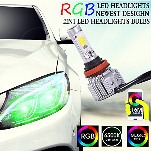 t Bulb kit-TheOne LED headlight Conversion-Bluetooth Phone APP Control Color Changing Demon Eye (H11(H8/H9)) ()