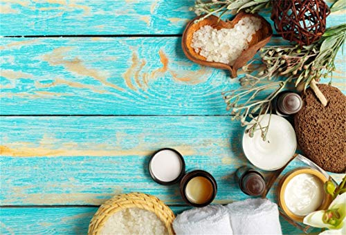 CSFOTO 5x3ft Background Spa Essential Oil Salt Sea Shells On Wood Board Photography Backdrop Towel Afternoon Spa Party Beauty Light Blue Wood Plank Femal Lady Photo Studio Props Polyester -