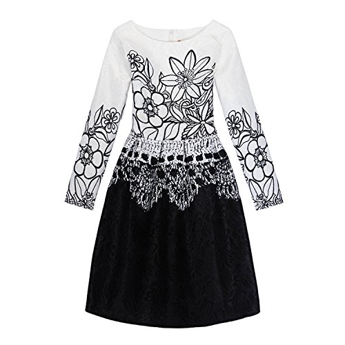Doris Batchelor Elegant Girls Dress Long Sleeve Rose Flower Print Girls Clothes Children Dresses Kids Costumes Black Flower -