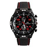 Appliances Men Best Deals - LSVTR GT Racing Sport Watch Military Pilot Aviator Army Style Black Silicone Red Men's Watches