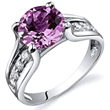 Created Pink Sapphire Solitaire Ring Sterling Silver Rhodium Nickel Finish 2.75 Carats Size 9