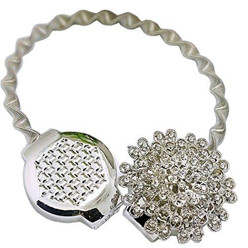 EleCharm Europe Style Creative Wire Spring Curtain Tiebacks Magnetic Diamond Holdbacks (Silver) by EleCharm (Image #1)