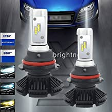 Turbo SII 9007 HB5 Led Headlight Bulbs 50W 6000LM LED Conversion Kit Halogen and Xenon HID Headlight driving fog lights Replacement Free DIY with 3 Kinds Colorful Film