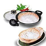 "Nirali 8 inch Thick aluminium Teflon Platinum nonstick coated ""hopper"" / appam pan with toughened glass lid, black exterior"