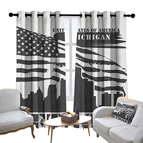 Lewis Coleridge Pattern Curtains Detroit,Monochrome Grunge City Silhouette American Flag United States Michigan, Charcoal Grey White,Living Room and Bedroom Multicolor Printed Curtain Sets 54