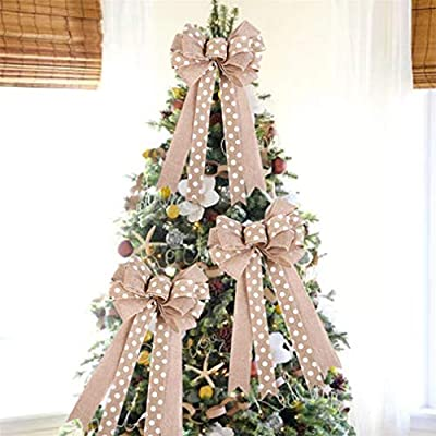 Sevenfly Rustic Wreath Bow Burlap Polka Dot Bowknot Bow Tie Ornaments Christmas Tree Decoration Hangs(Beige): Toys & Games