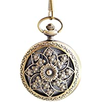 BoShiYa Vintage Arabic Dial up Quartz Pocket Watch Analog Modern Sun Half Hunter Steel Case with Chain for Women