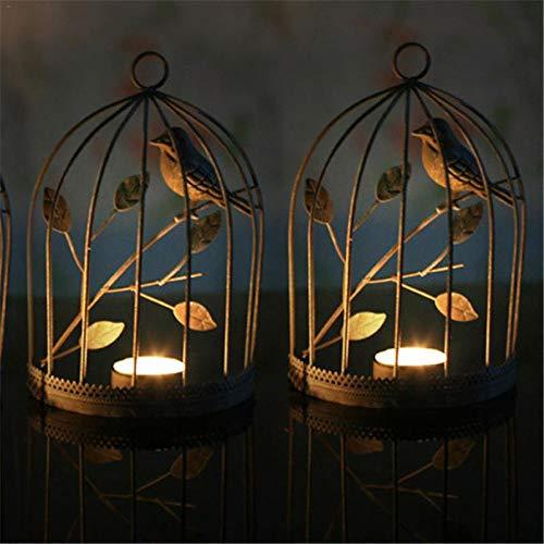 Candle Holders - European Style Iron Birdcage Vintage Candlestick Home Decorated Romantic Creative Ornament - Orange Decorative Iron Fashion Lantern Emergency Illuminate Bath Vase Rose Glass ()