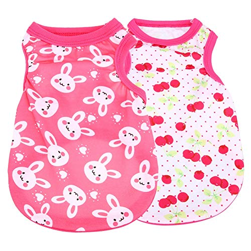 - CheeseandU 2019 New 2Pcs Summer Dog Clothes Pet Vest Puppy Dog Cute Cool Soft Cotton Shirt with Bunny Dots Cherry Printed Sleeveless T-Shirt for Teddy Poodle Small Dogs Cats Clothes Pet Apparel, Pink